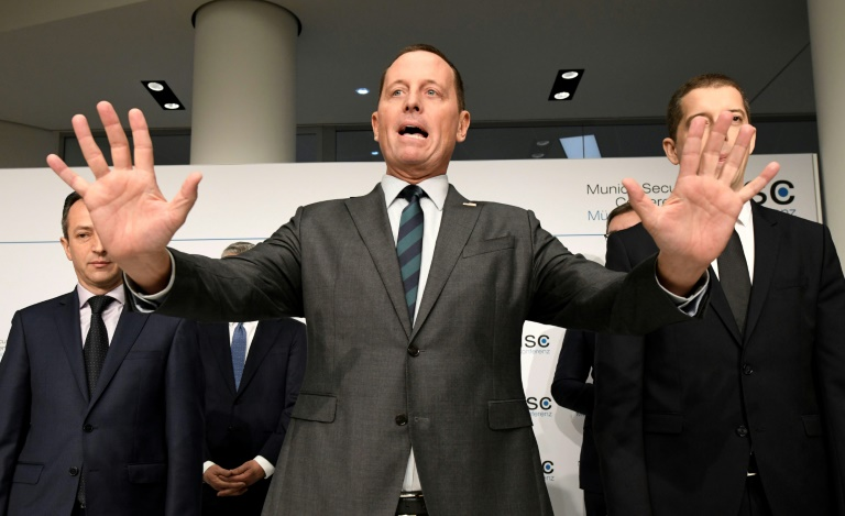 "US Ambassador to Germany Richard Grenell (C, pictured February 14, 2020) said President Donald Trump told him that allies who use Huawei ""will jeopardize our ability to share intelligence and information"""