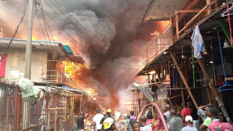 Goods Destroyed As Fire Guts Shops In Lagos Market