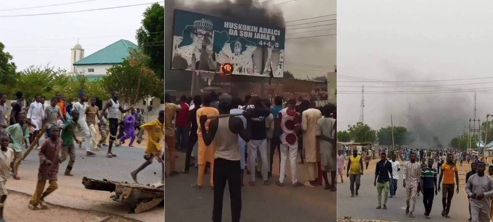 Katsina Protesters Burn Buhari's Billboard Over Insecurity