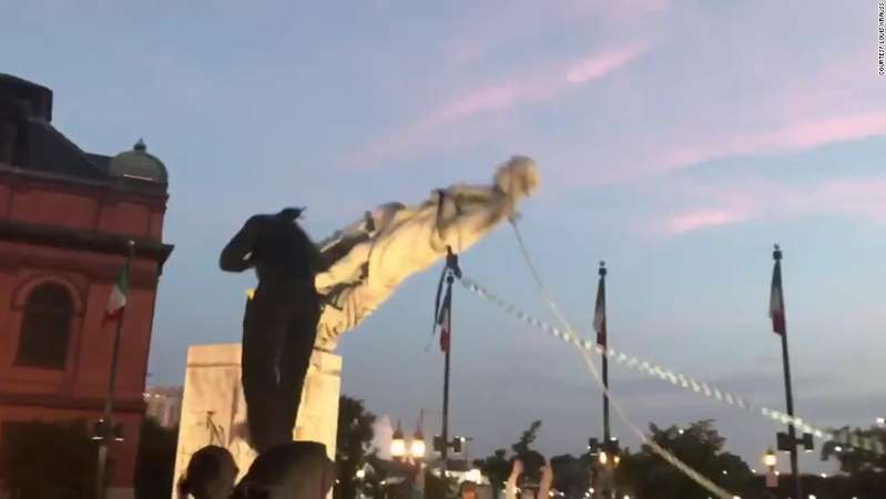 Baltimore Protesters Topple Christopher Columbus' Statue
