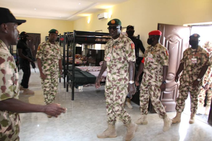 Buratai lands in Borno, visits Army Super Camps