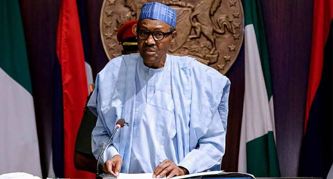 Buhari delivering 60th anniversary address