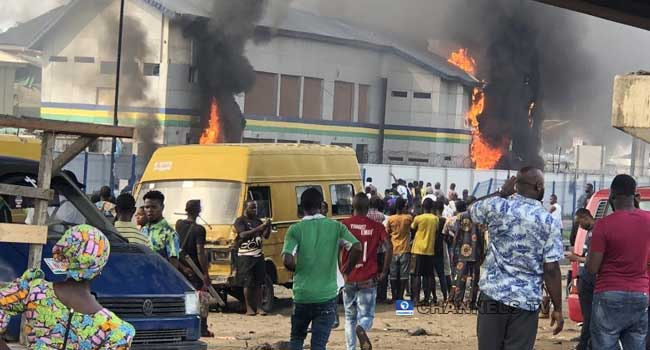 Hoodlums Hijack Protest, Set Lagos Police Station On Fire